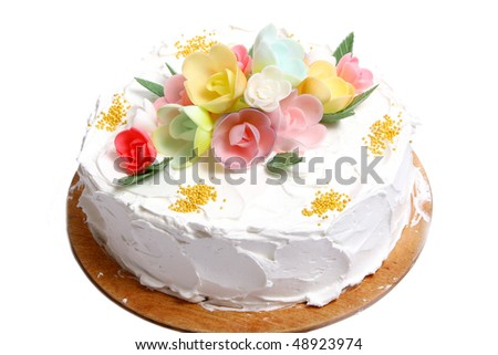 sweet wedding cake on white - stock photo