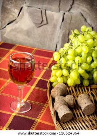 sweet white grapes in a basket on the table - stock photo