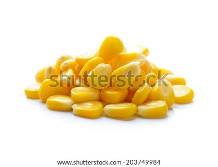 Sweet whole kernel corn on white background - stock photo