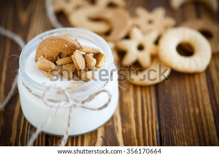 sweet yogurt and cookies in a glass jar - stock photo