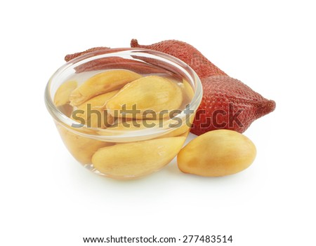 sweet zalacca with syrup in the cup isolate on white background with clipping path. - stock photo