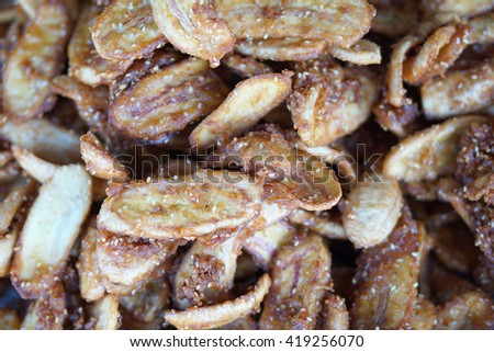Sweetened fried banana fritters  - stock photo