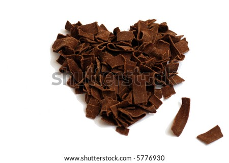 Sweetheart (made of chocolate chips) against white background. - stock photo