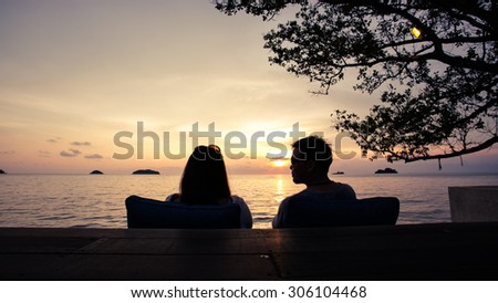 Sweetheart on the Beach sunset. - stock photo