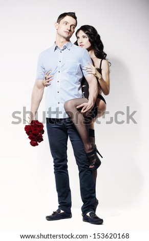 Sweethearts. Beautiful Beloved Couple Flirting Together - stock photo