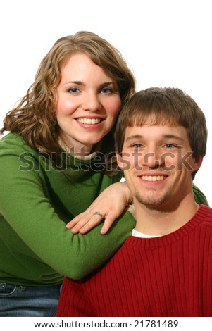 Sweethearts in red and green - stock photo