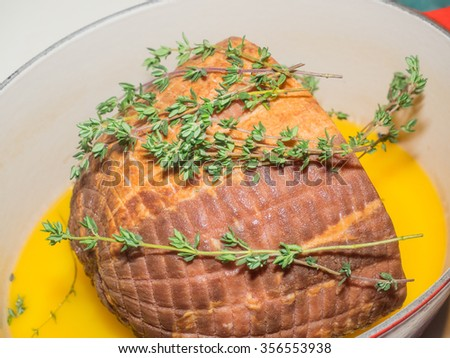 Sweetly seasoned ham roasted with moist heat is a delicious way to celebrate special occasions. - stock photo