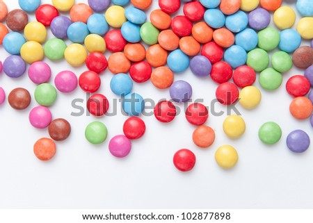 Sweetmeats multi coloured against a white background
