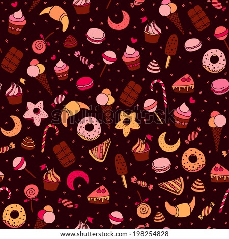 Sweets and baking desserts hand drawn seamless patten - stock photo