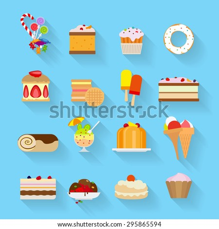 Sweets and Candies flat icons with shadows - stock photo