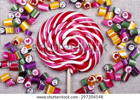 sweets candy caramel colorful assortment texture closeup background - stock photo