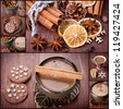 Sweets, coffee and spices. Christmas collage. - stock photo