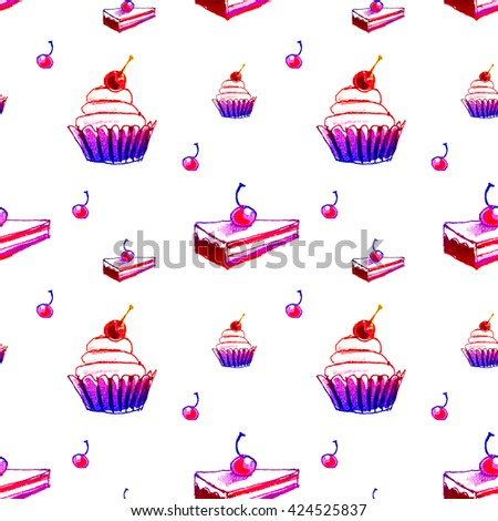 Sweets cupcakes seamless pattern colorful