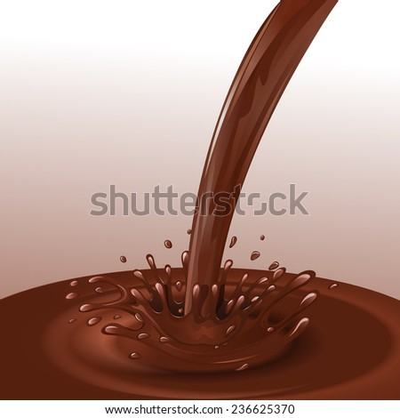 Sweets dessert molten chocolate flow with splashes background  illustration