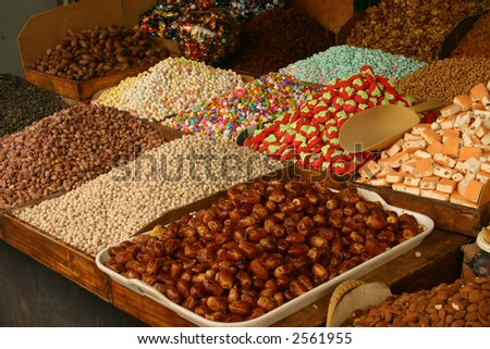 Sweets for sale in a market in the medina district of Tetouan in Morocco - stock photo