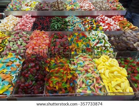 Sweets stalls at Machane Yehuda Market. Jerusalem, Israel. - stock photo