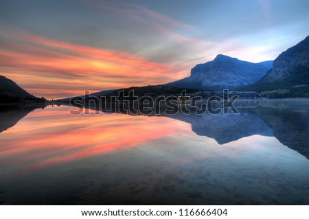 Swiftcurrent Lake and Many Glacier Hotel, Glacier National Park, Montana, America - stock photo