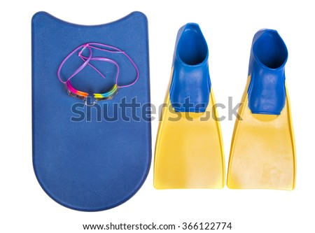 Swim fins, kick board and goggles on a isolated white background for high school swim team background or competitive swim teams.