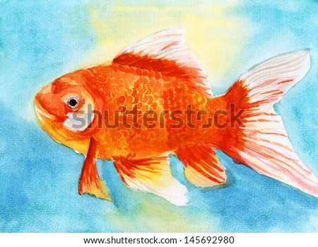 swim goldfish watercolor painting on paper - stock photo