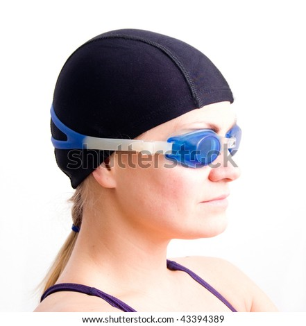 swimmer girl isolated on white background