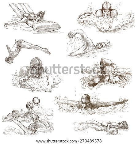 SWIMMING and Water Sports (pack no.1). Collection of an hand drawn illustrations. Description - Full sized hand drawn illustrations, freehand sketches, drawing on white background (isolated on white). - stock photo