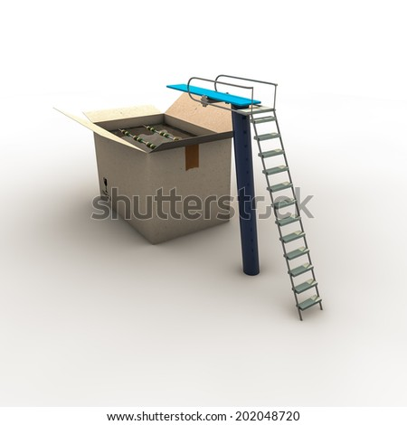 swimming box isolated on white background - stock photo