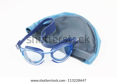 Swimming cap and glasses