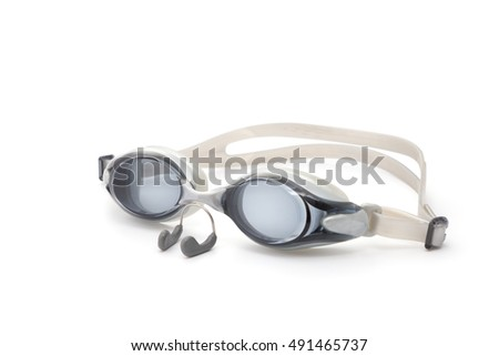 Swimming goggles and clipnose isolated on white background