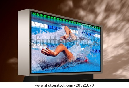 swimming in waterpool with blue water on monitor - stock photo