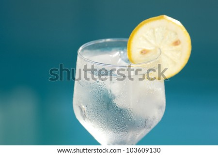 Swimming pool and a wine glass with ice and with lemon