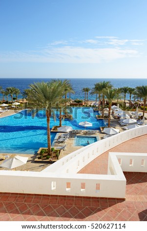 Swimming pool and beach at the luxury hotel, Sharm el Sheikh, Egypt