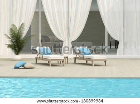 swimming pool and chaise lounge - stock photo