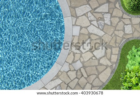 swimming pool and garden detail in top view - stock photo