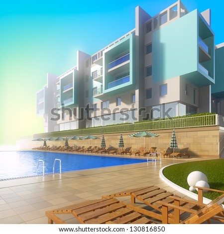 Swimming pool and modern hotel. A 3d illustration of idyllic summer background with pool and contemporary building. - stock photo