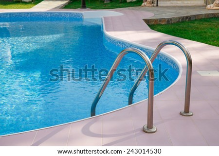 Swimming pool at holiday villa in Cyprus. - stock photo