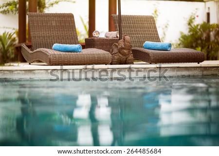 Swimming pool, Bali style, Thailand - stock photo