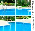 Swimming pool collage with four elements - stock photo