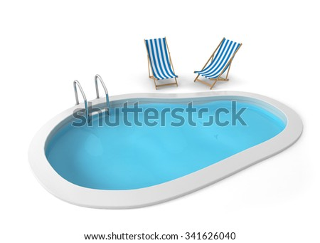 Swimming pool. 3d illustration isolated on white background  - stock photo