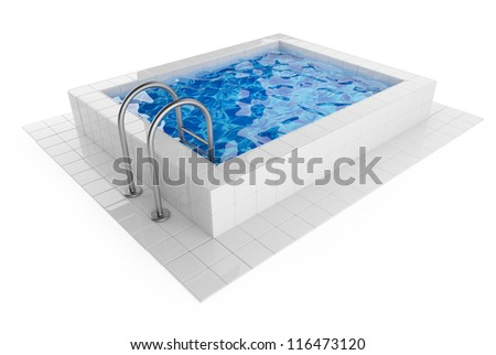Swimming pool. 3D Illustration on white background - stock photo