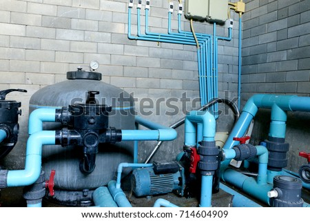 Swimming pool filtration systems sand filters stock photo - Swimming pool filter system price ...