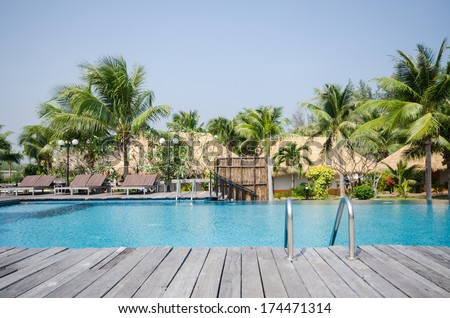 Swimming pool in beautiful tropical style pool villa resort - stock photo