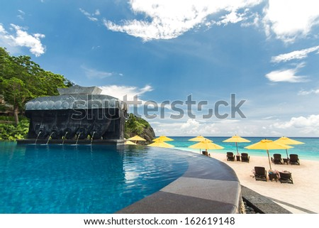 Swimming pool in luxury resort, Boracay - stock photo