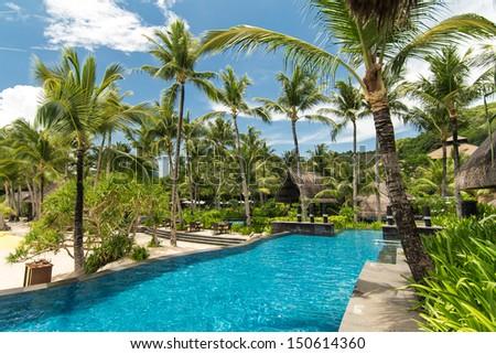 Swimming pool in luxury resort, Boracay, Philippines - stock photo