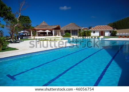 Swimming pool in residence - stock photo