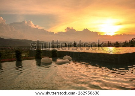 swimming pool in resort khaoyai ,thailand - stock photo