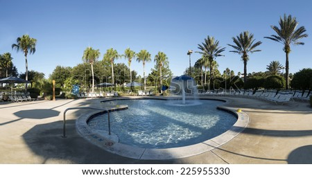 Swimming pool in spa resort, Orlando, Florida, USA - stock photo