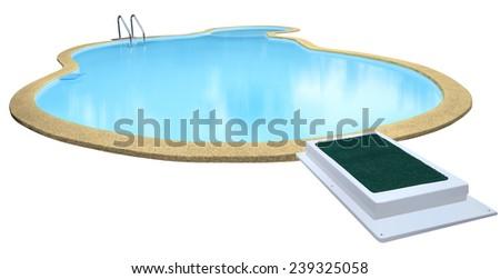 Swimming pool isolated on white background. - stock photo