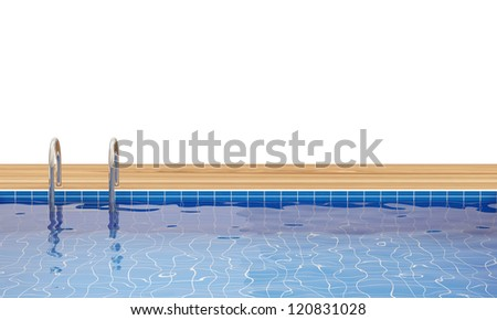 Swimming Pool isolated on white background with place for your text - stock photo