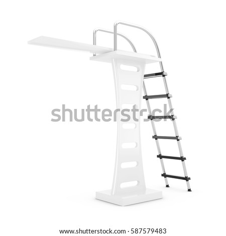 Swimming Pool Jump Board On White Stock Illustration