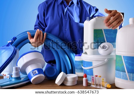 Maintenance stock images royalty free images vectors shutterstock for Swimming pool cleaning chemicals list